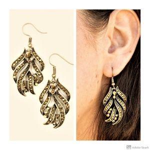 Fan The Flames - Brass Rhinestone Hook Earrings